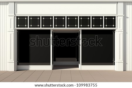 Shopfront with large windows - stock photo