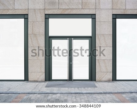 Shopfront with large windows. Shop Boutique store with Place for Name - stock photo