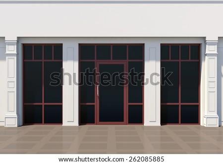 Shopfront with large windows. White store facade - stock photo