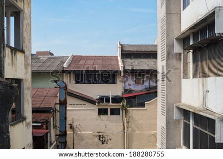 shophouse roofs - stock photo