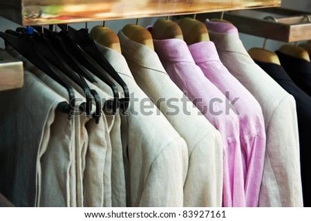 shoping sale background theme. clothes on hanger in shop - stock photo