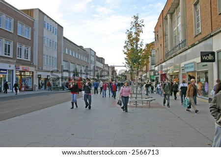 Shoppers in Exeter City Centre in Devon England