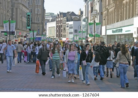 Shoppers in Liverpool England - stock photo