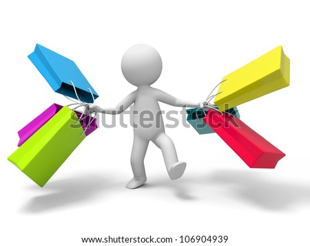 Shopping/ a people is walking with some shopping bags - stock photo