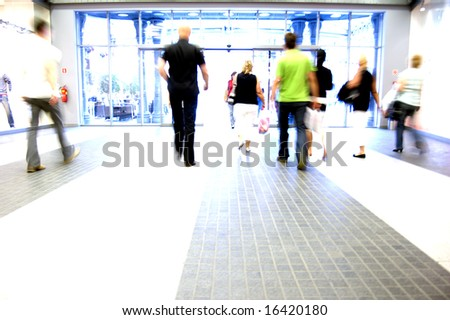 Shopping abstract. People rush motion blurred