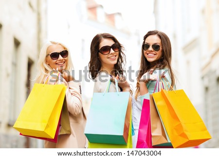 Shopping Tourism Concept Beautiful Girls Shopping Stock Photo ...