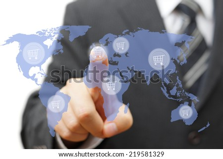 shopping around the world or sell products globally - stock photo