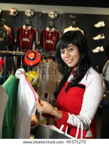 shopping at sport store - stock photo