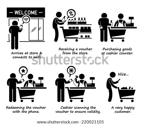 Shopping at Store and Redeeming Online Voucher Process Step by Step Stick Figure Pictogram Icons - stock photo