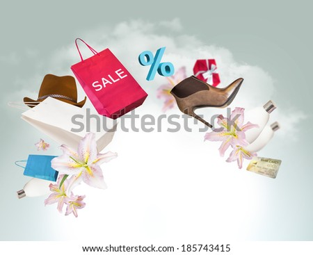 Shopping background - stock photo