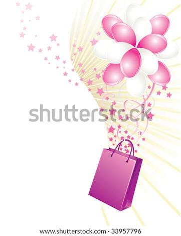 Shopping bag and balloons - stock photo