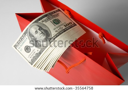 Shopping Bag and Dollar close up shot