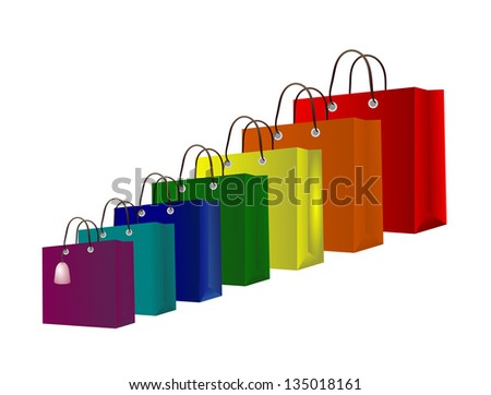 Shopping bag collection in rainbow theme. Happy shopping!