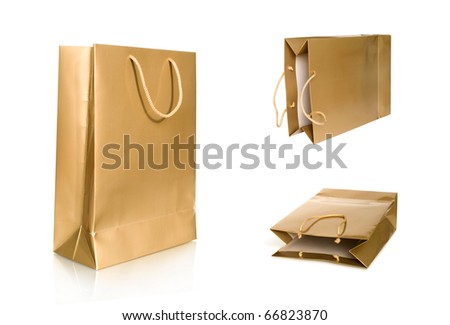 shopping bag collection isolated on white - stock photo