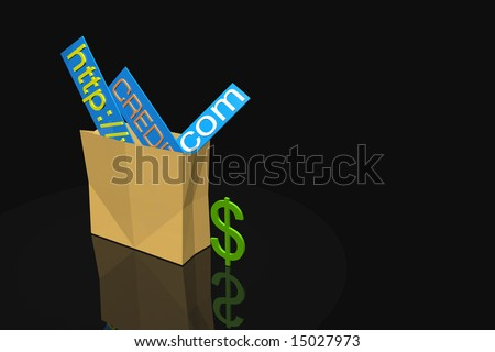 Shopping bag for internet with dollar sign - stock photo