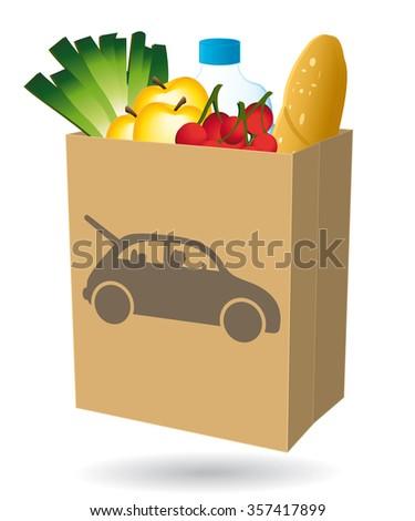 Shopping bag. Fresh food. Drive icon. Illustration I. - stock photo