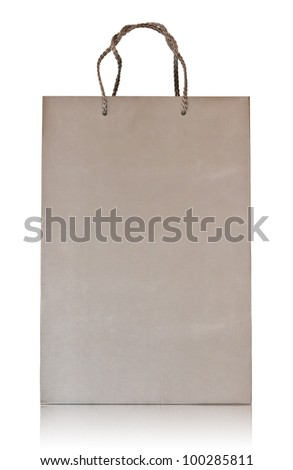 Shopping bag made from brown recycled paper. Add your own design - stock photo