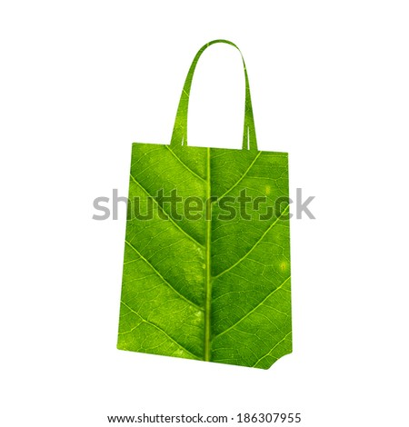 Shopping bag made of green leaf isolated on white background - stock photo
