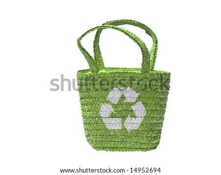 Shopping bag made of natural materials with recycle symbol - stock photo