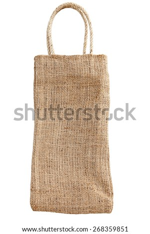 Shopping bag made out of recycled Hessian sack isolated on white - stock photo