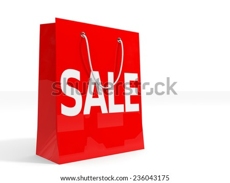 Shopping bag on white background. Sale. 3D illustration. - stock photo