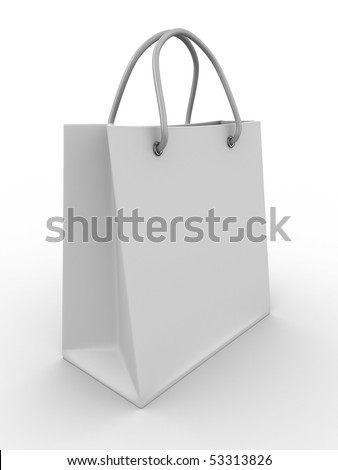 Shopping bag on white. Isolated 3D image - stock photo