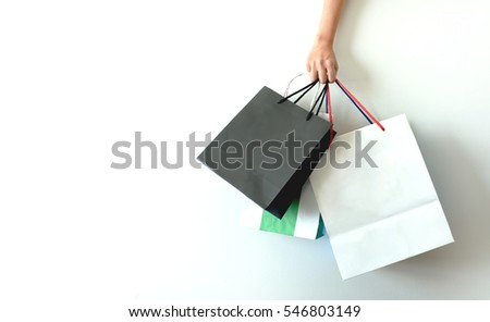 Shopping bag white background business concept.