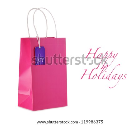 Shopping bag with a tag - stock photo