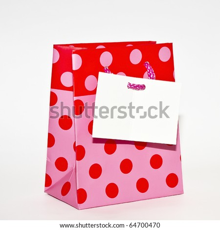 Shopping bag with card with space for text