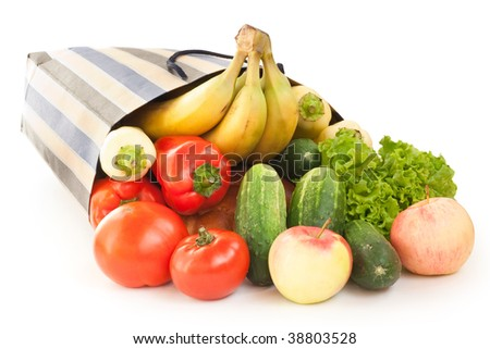 shopping bag with food isoalted on white - stock photo