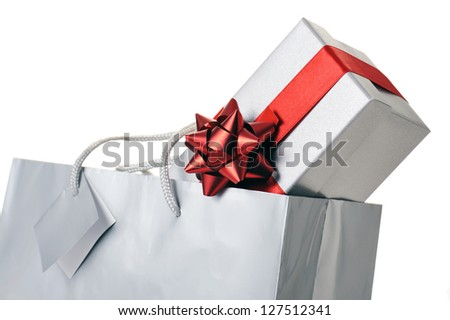 shopping bag with gift box on white background - stock photo