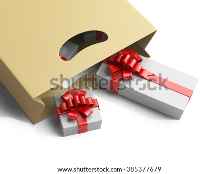Shopping bag with gifts box isolated on white background 3d image.