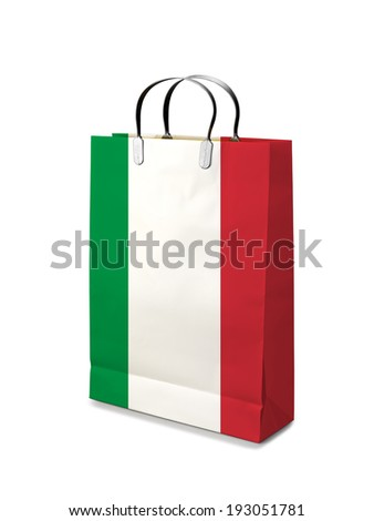 Shopping bag with Italy flag. Retail business on white background