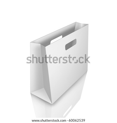 shopping bag with mirror effect isolated - stock photo