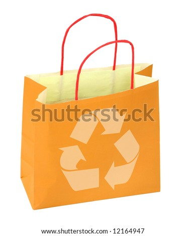 shopping bag with recycle symbol on white - stock photo