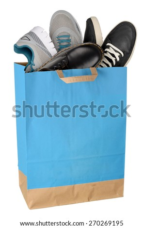Shopping bag with shoes isolated on white background. Full size - stock photo