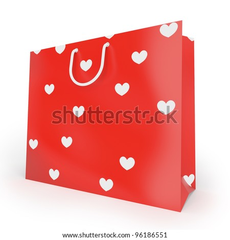 Shopping bag with texture from hearts. Gift to the favourite woman or man - stock photo