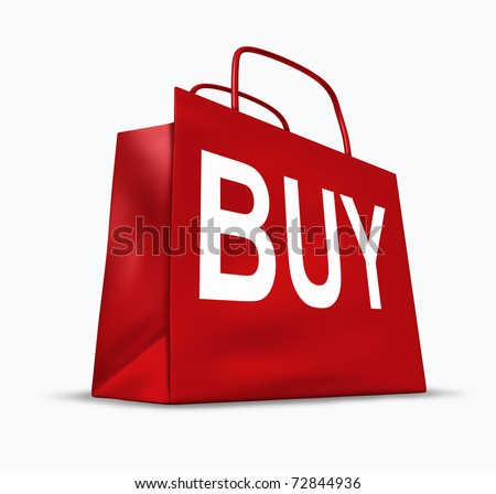 Shopping bag with the word buy as a symbol of shoppers and materialism in regards to merchandise for sale. - stock photo