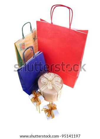 Shopping bags and gift boxes  isolated on white - stock photo