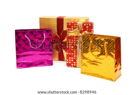 Shopping bags and giftbox isolated on the white