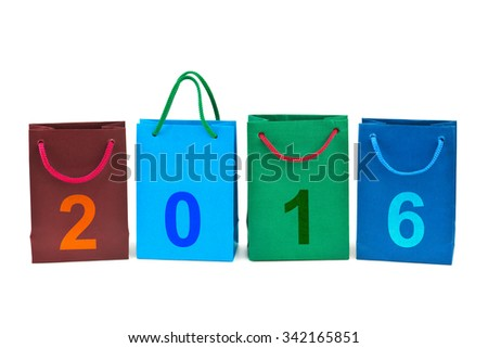Shopping bags and numbers 2016 isolated on white background - stock photo