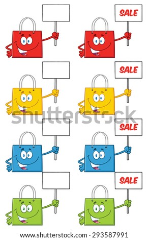 Shopping Bags Cartoon Character 3. Raster Collection Set - stock photo
