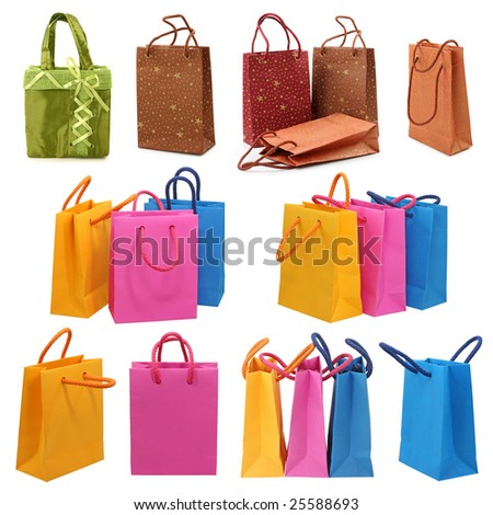 Shopping bags collection isolated on white background - stock photo