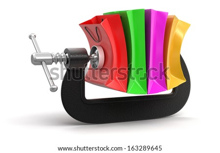 Shopping Bags in clamp (clipping path included) - stock photo