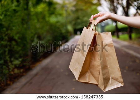 Shopping bags in the hand - stock photo