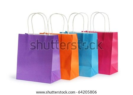 Shopping bags isolated on the white background - stock photo
