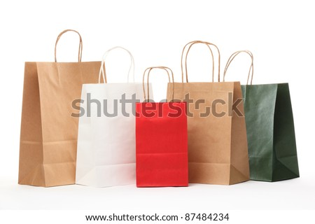 Shopping bags isolated on white background. - stock photo