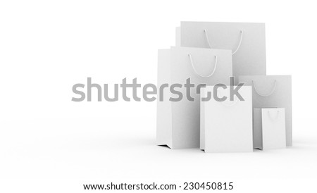 Shopping bags on the white background - stock photo