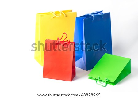 Shopping bags red, blue, yellow, green