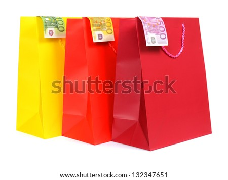 Shopping bags with euro money - stock photo